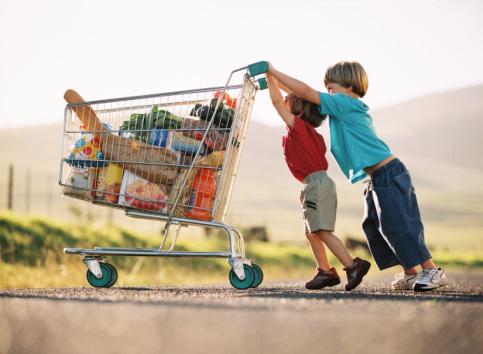bambini carrello spesa