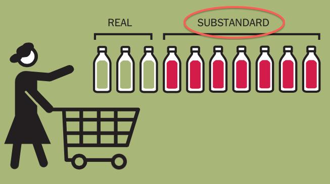 Dopo: la vignetta recita che il 69% dell'olio importato negli Usa con etichetta di extravergine non corrisponde agli standard