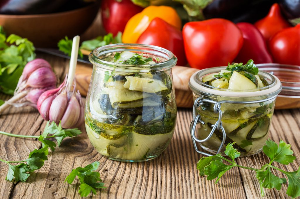 Canned zucchini and fresh vegetables