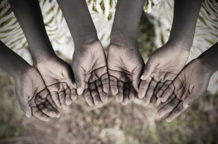 African Children Holding Hands Cupped To Beg Help. Poor African children keeping their cupped hands, asking for help. African children suffer from poverty, diseases, water scarcity and malnutrition.