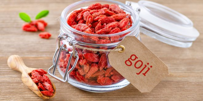 organic goji berries in a glass jar on wooden background bacche di goji