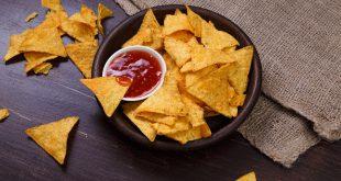 Nachos chips. Delicious salty tortilla snack.