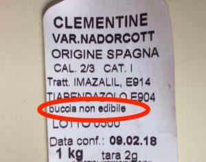 etichette arance non edibile
