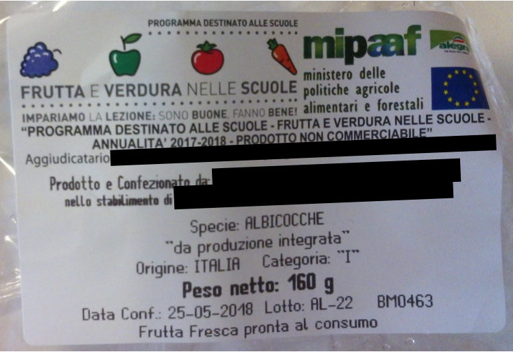 etichetta frutta nelle scuole