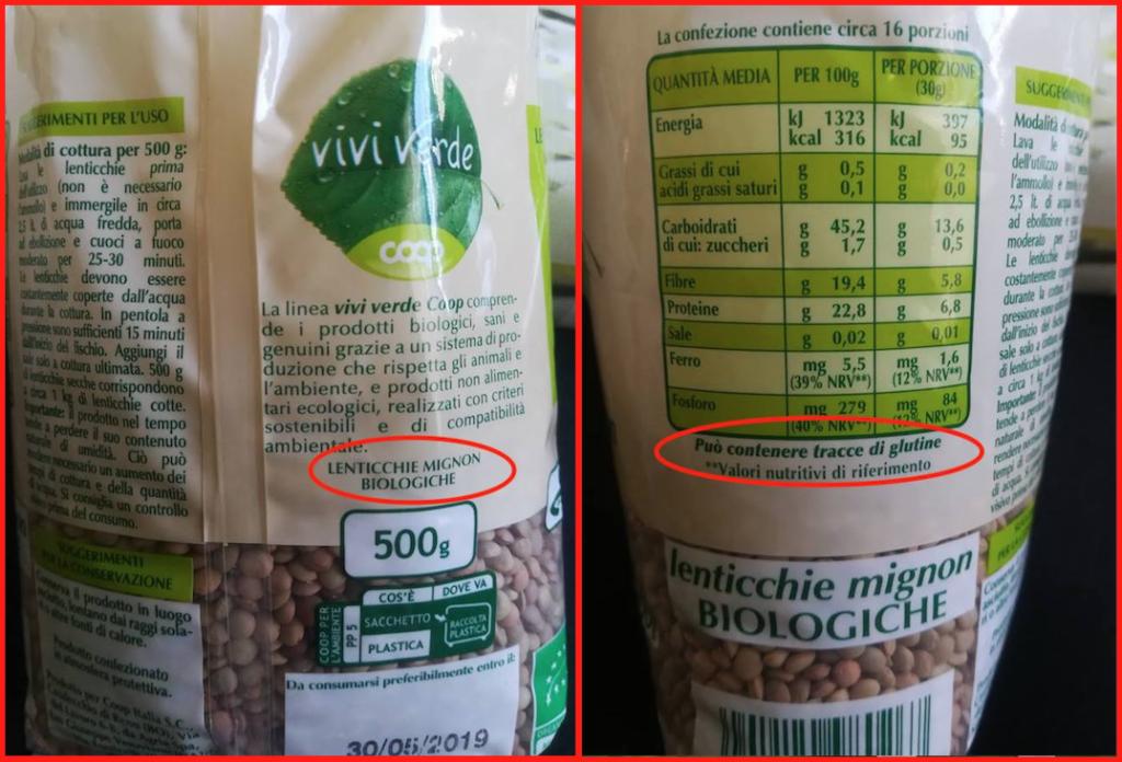 lenticchie vivi verde coop 2018 etichetta