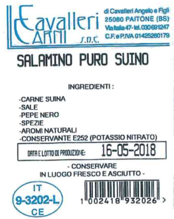 etichetta salamini suino