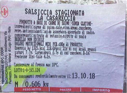 salsiccia stagionata comacar terremerse etichetta