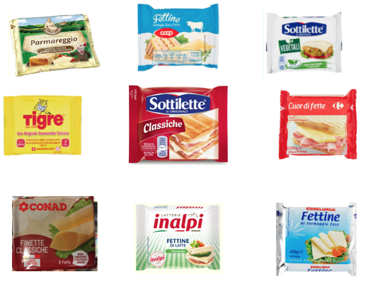 sottilmente fettine di formaggio