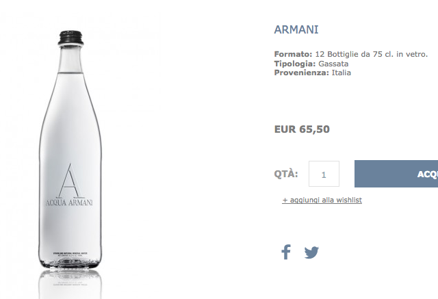 acqua minerale armani