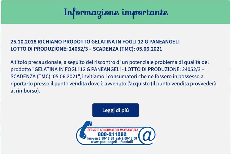 Richiamo prodotto Gelatina Paneangeli della Cameo per possibile presenza di Salmonella