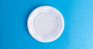 plastic dish on colorful background