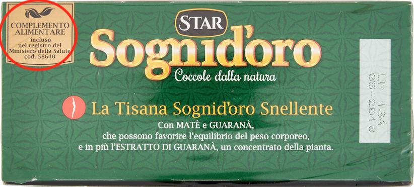 sognidoro tisana snellente complemento alimentare etichetta