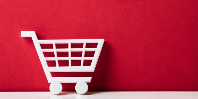 Close-up Of A White Shopping Cart
