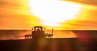 Traktor bei Sonnenuntergang