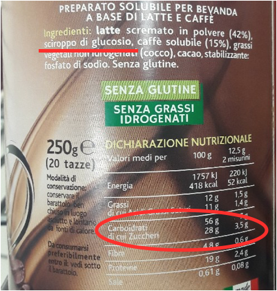 cappuccino solubile da zuccherare crastan etichetta