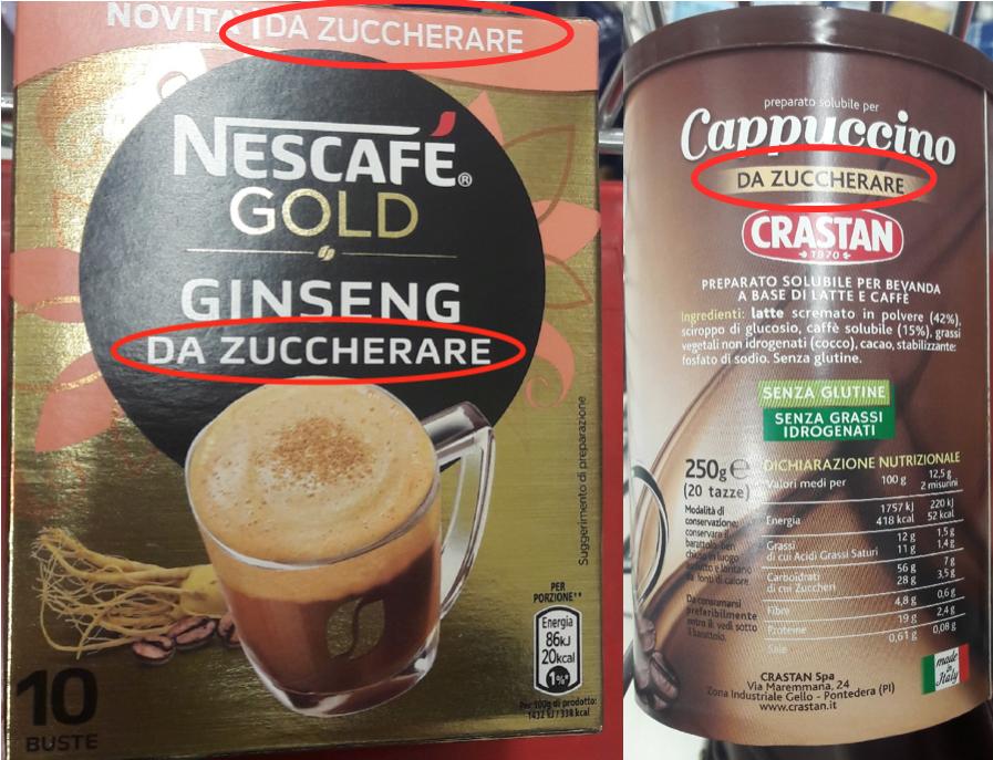nescafe nestle ginseng crastan cappuccino solubile confezioni da zuccherare