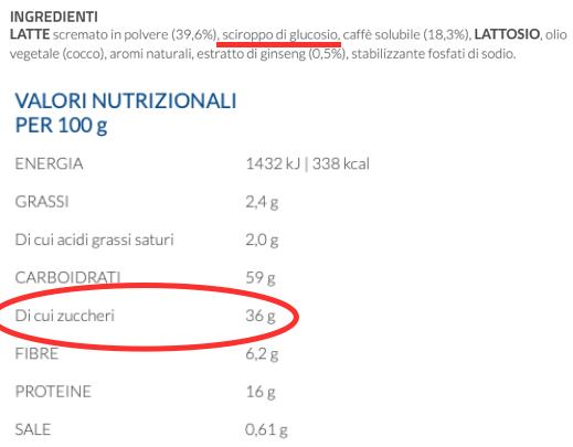 nestle nescafe ginseng solubile da zuccherare etichetta