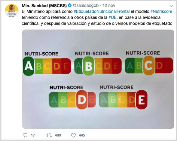 twitter ministero salute spagna nutri-score etichette a semaforo