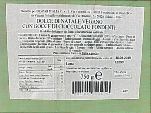 dolce di natale despar veggie etichetta