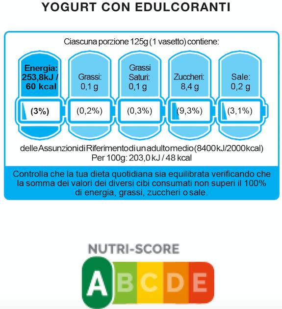 etichetta a batteria nutri-score yogurt
