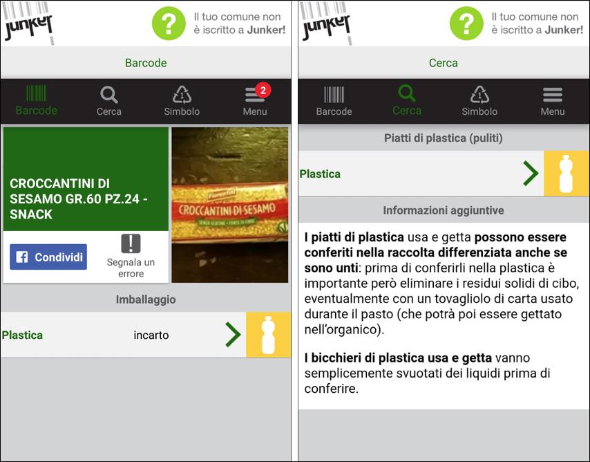 junker app raccolta differenziata imballaggi