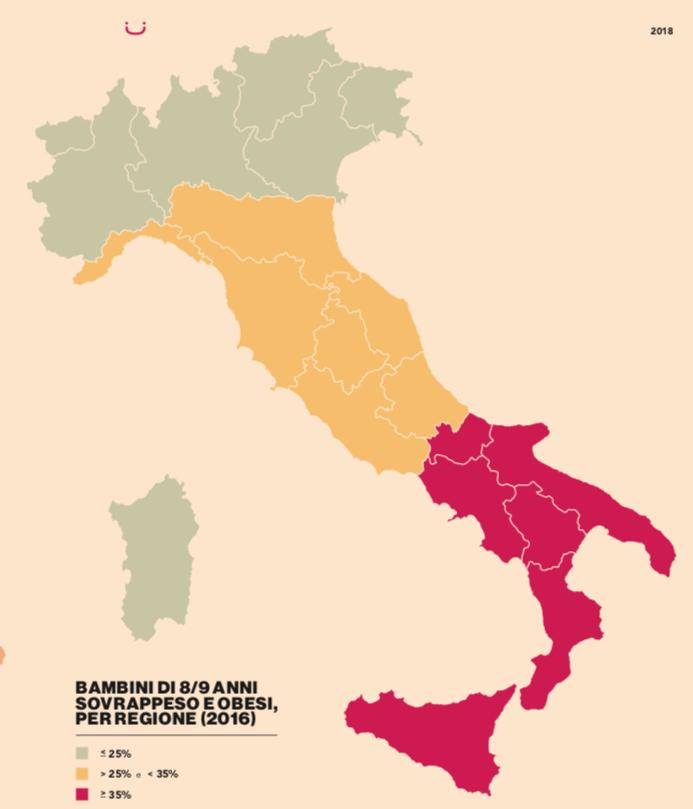 sovrappeso obesita italia 2018 regioni malnutrizione C'era una volta la cena