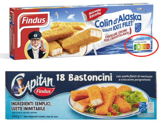 bastoncini findus nutri-score italia francia