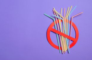 Say No to Plastic Straws, Plastic Pollution Concept, Top View cannucce plastica
