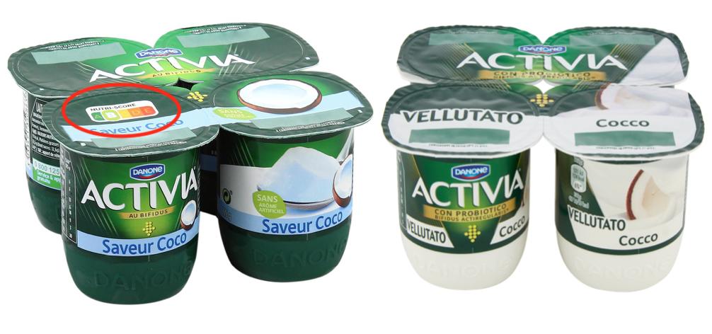 yogurt activia cocco nutri-score italia francia