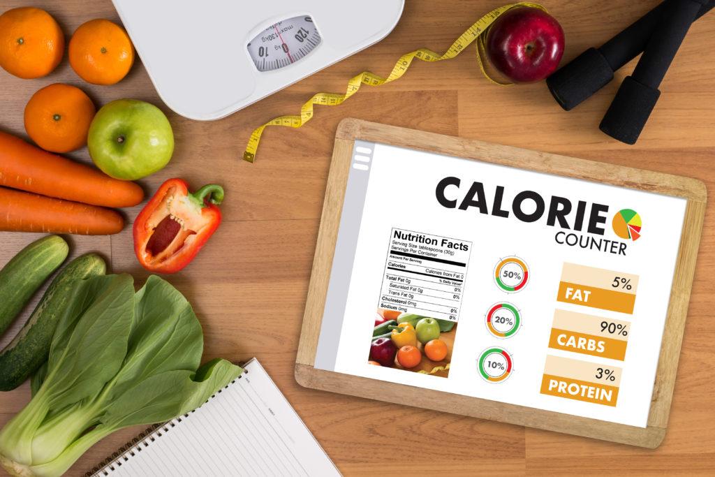 Aplicação de contador de calorias Contagem médica Conceito de dieta saudável
