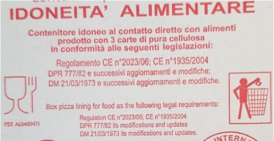 cartoni per pizza idoneita contatto alimenti