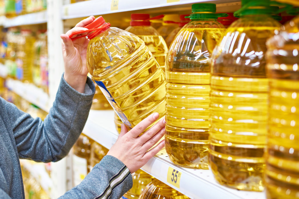 olio d'oliva plastica PET supermercato