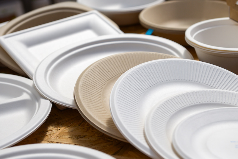 piatti carta compostabile usa e getta plastica packaging