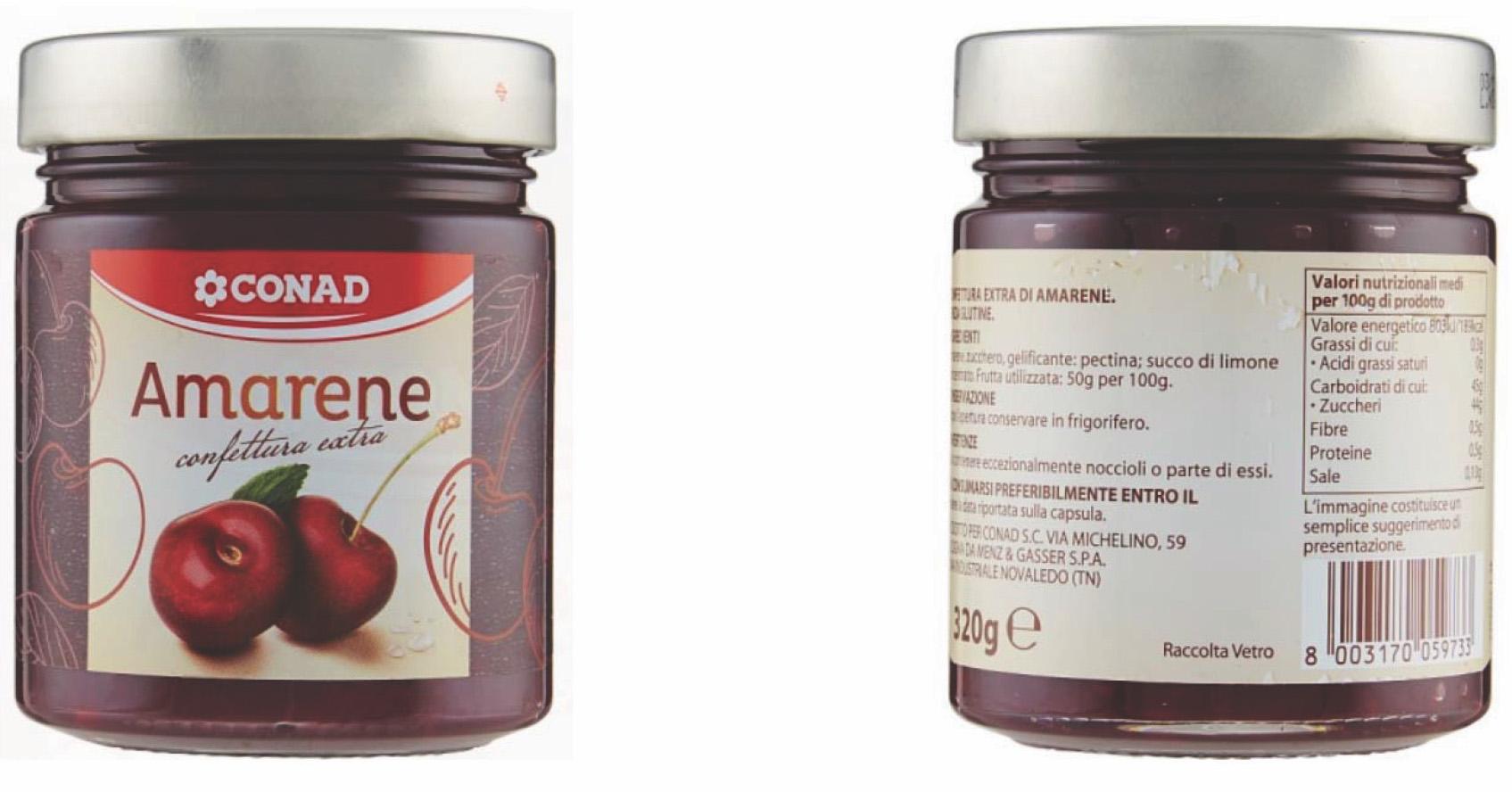 CONAD richiama confettura extra di amarene: possibili rischi per allergici