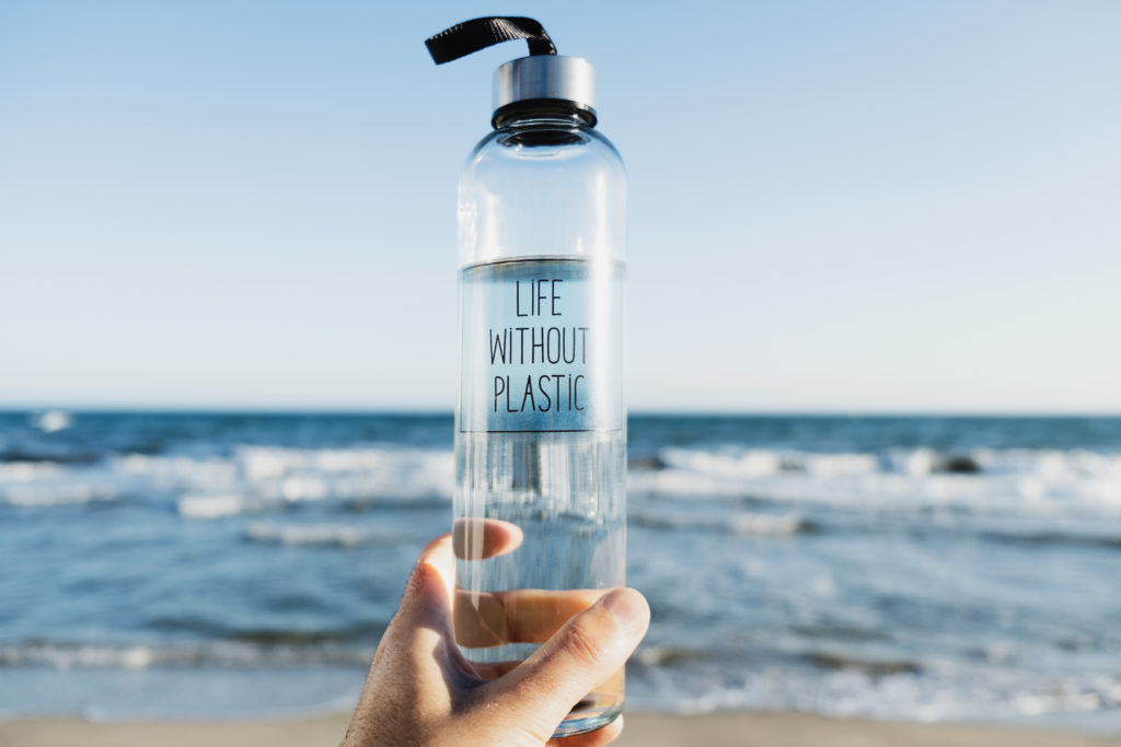 water bottle with the text life without plastic