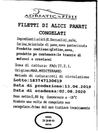 etichetta alici panate congelate Allergene