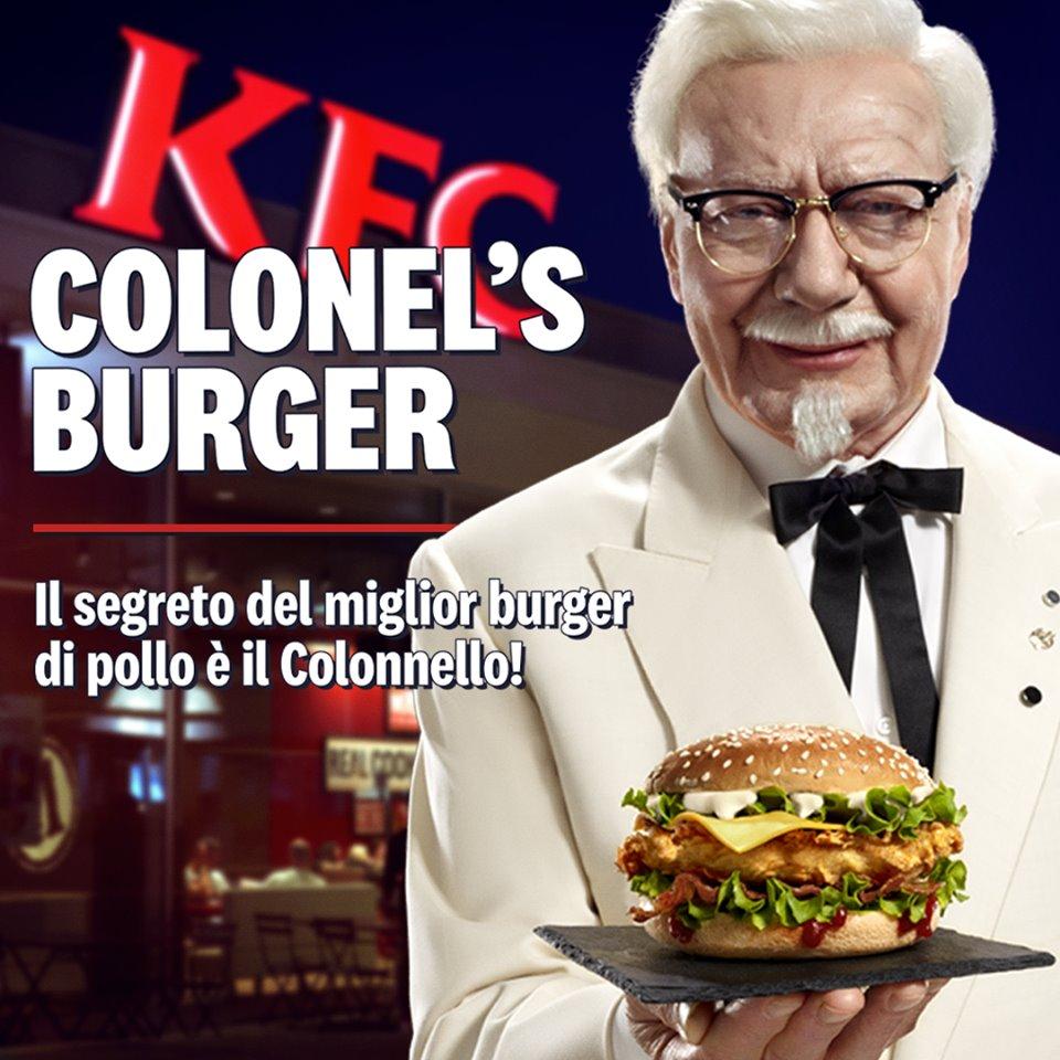 Colonel's pubblicità kfc burger facebook