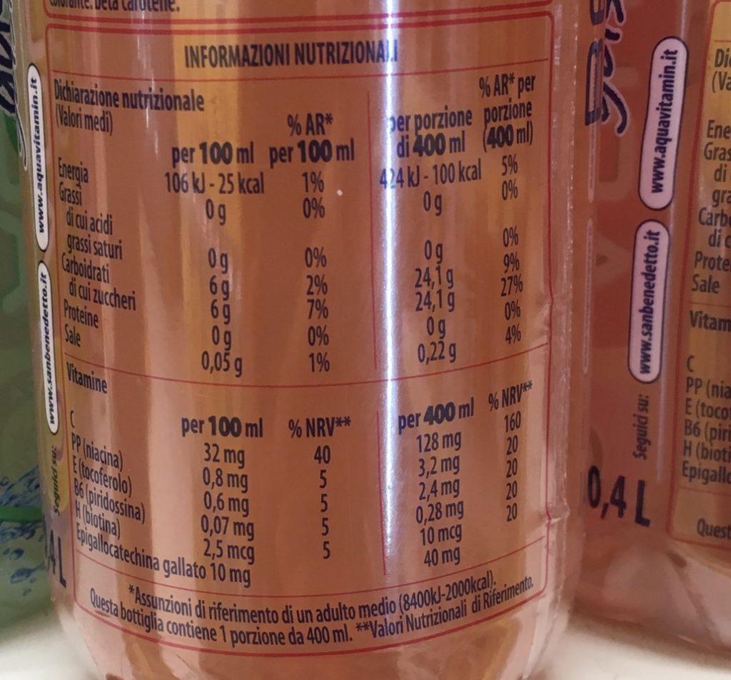 tabella nutrizionale aquavitamin