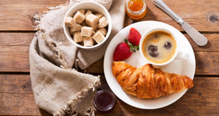 breakfast with croissants and coffee, top view