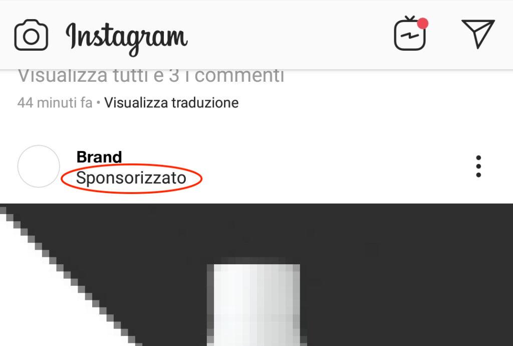 instagram post sponsorizzato