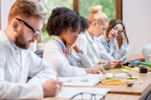 master, Group of medical students in the classroom