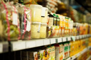 Shelves with variety grocery products in the supermarket