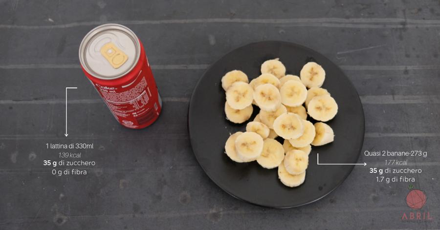 zucchero coca-cola banane