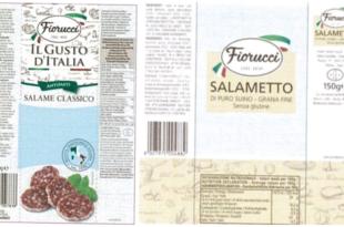 fiorucci richiamo salame classico salametto latte allergeni