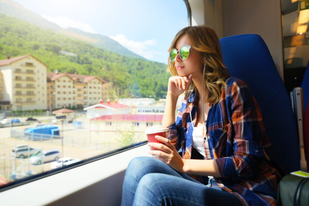Beautiful Girl Travelling On Train. Rosa Khutor