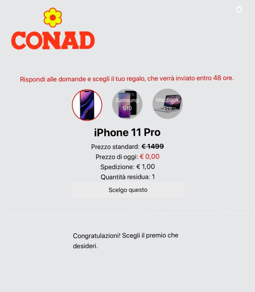 truffe virtuali conad iphone