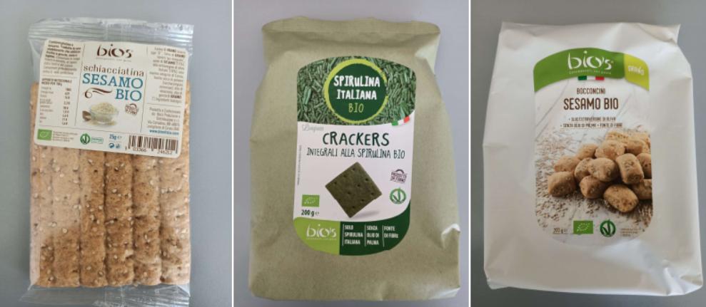 bio's merenderia schiacciatina sesamo cracker integrali spirulina bocconcini senape
