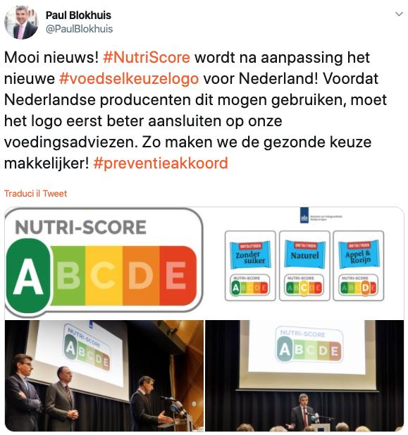 Twitter ministro salute paesi bassi nutri-score