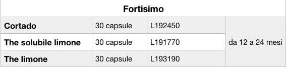 richiamo capsule fortisimo tabella