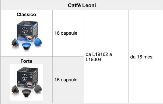 tabella richiamo capsule caffe leoni